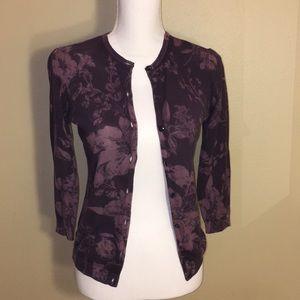 Halogen 3/4 sleeve purple floral cardigan